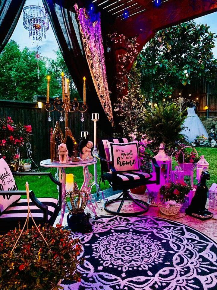 beautiful purple outdoor living space